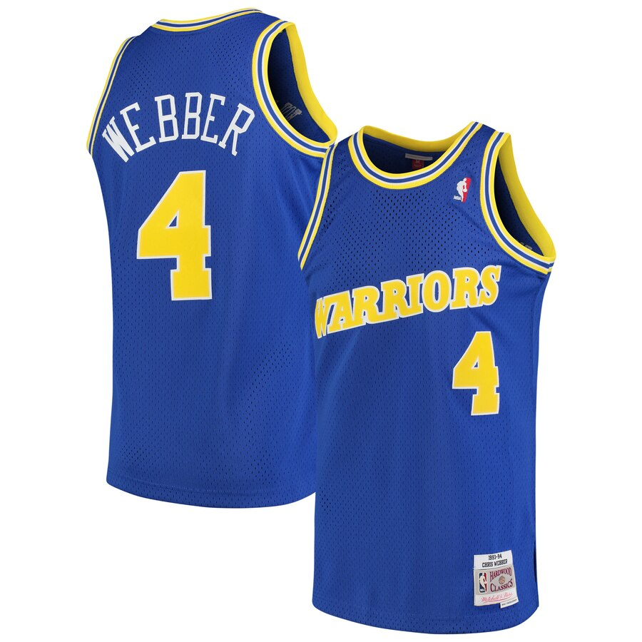 Warriors 4 Chris Webber Blue 1990-94 Hardwood Classics Mesh Jersey