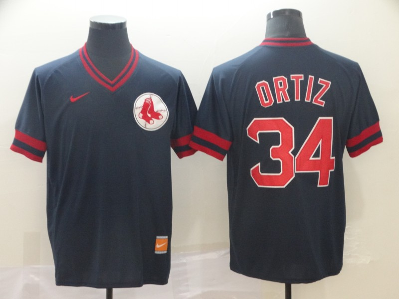 Red Sox 34 David Ortiz Black Throwback Jersey