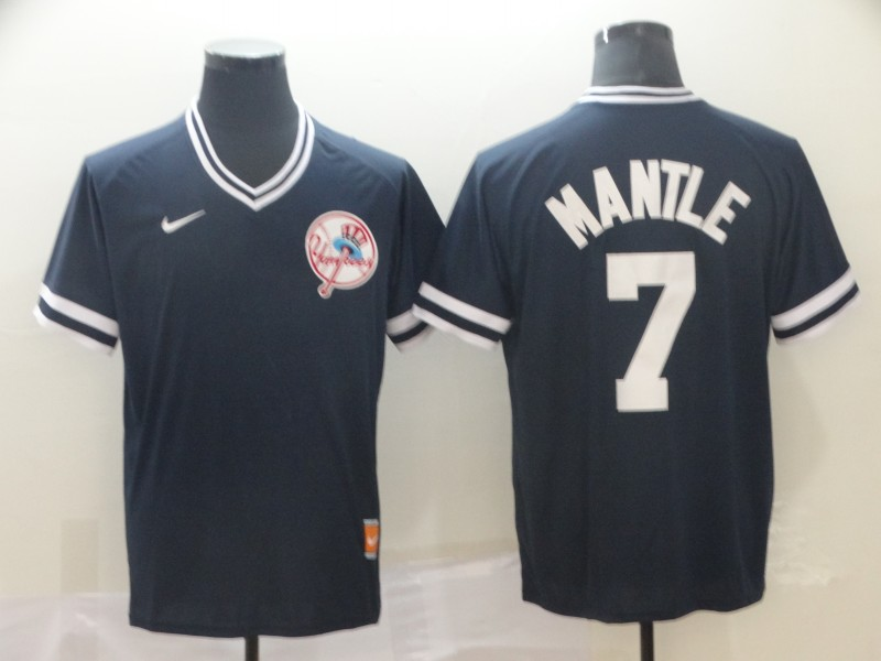Yankees 7 Mickey Mantle Blue Throwback Jersey