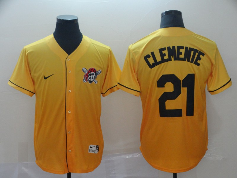 Pirates 21 Roberto Clemente Yellow Drift Fashion Jersey