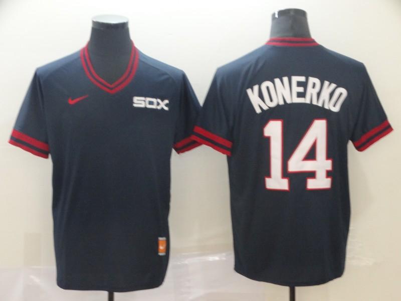 White Sox 14 Paul Konerko Navy Throwback Jersey