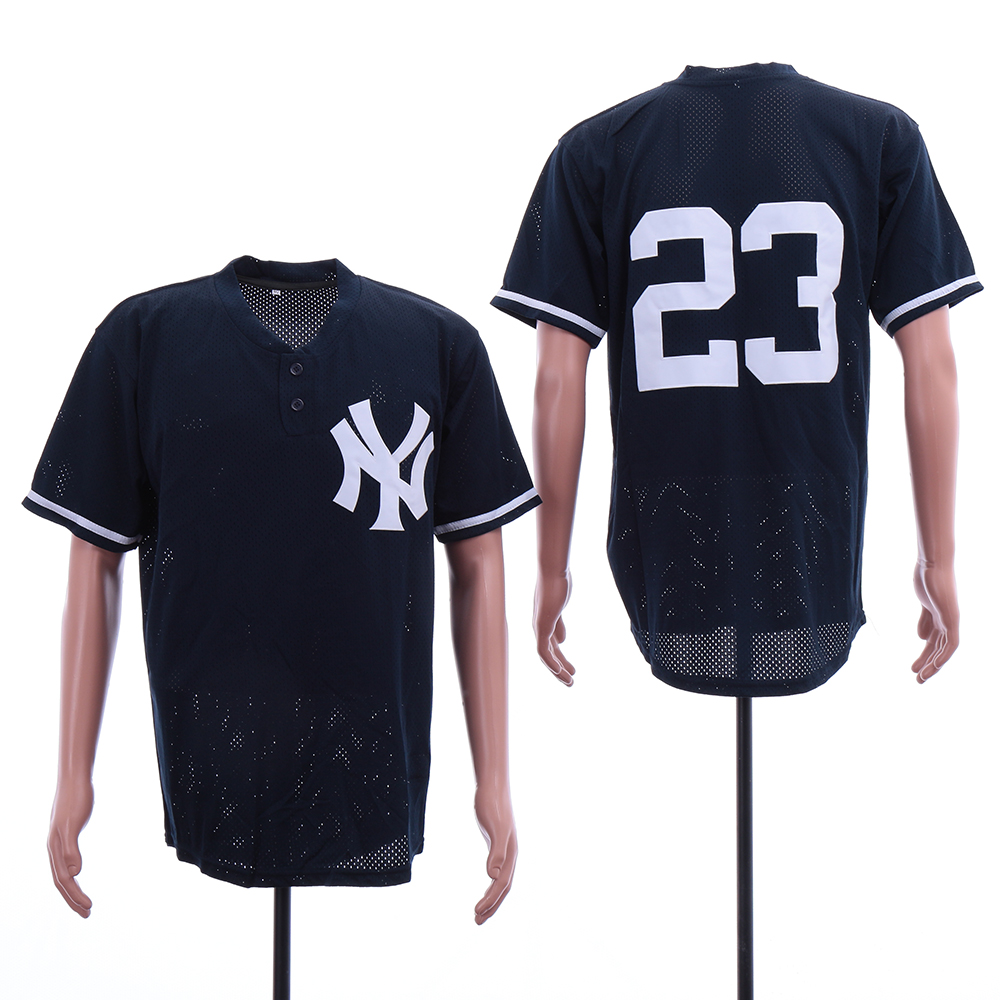 Yankees 23 Don Mattingly Navy Mesh BP Jersey