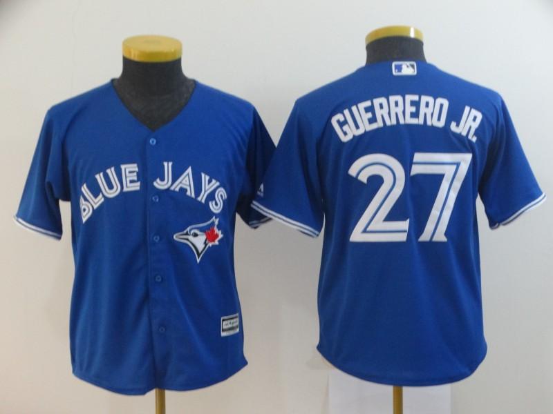 Blue Jays 27 Vladimir Guerrero Jr. Royal Youth Cool Base Jersey