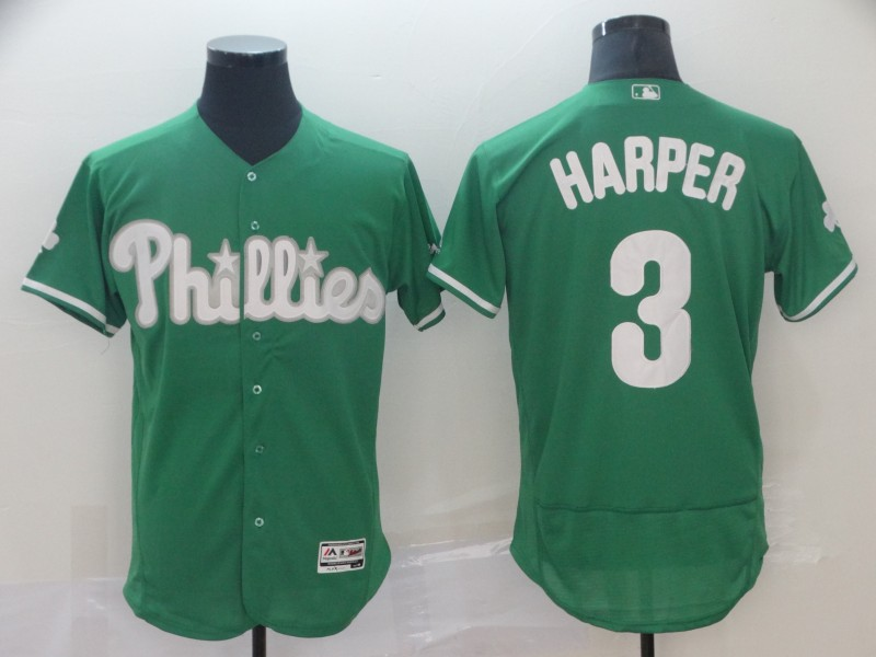 Phillies 3 Bryce Harper Green Flexbase Jersey