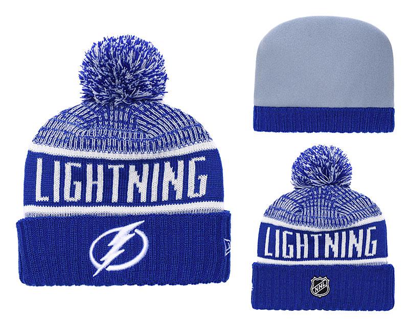 Lightning Fresh Logo Blue Pom Knit Hat YD
