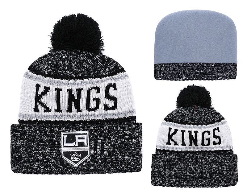 Los Angeles Kings Team Logo Black Pom Knit Hat YD