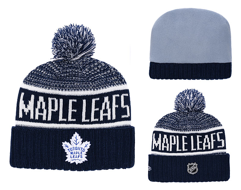 Maple Leafs Fresh Logo Navy Pom Knit Hat YD