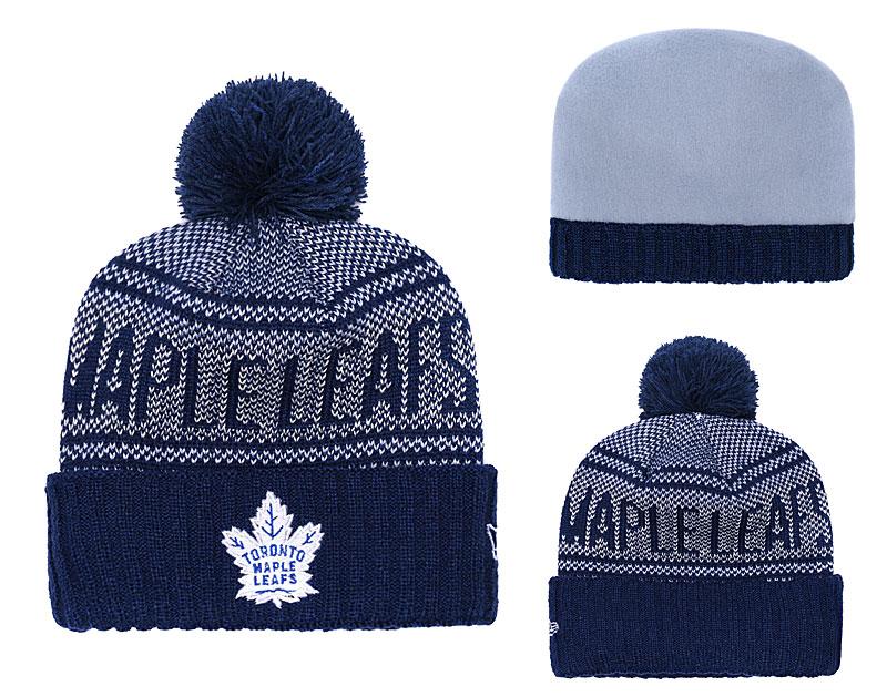 Maple Leafs Team Logo Navy Pom Knit Hat YD
