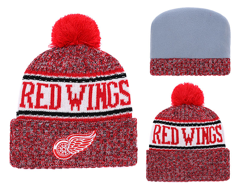 Red Wings Team Logo Red Pom Knit Hat YD