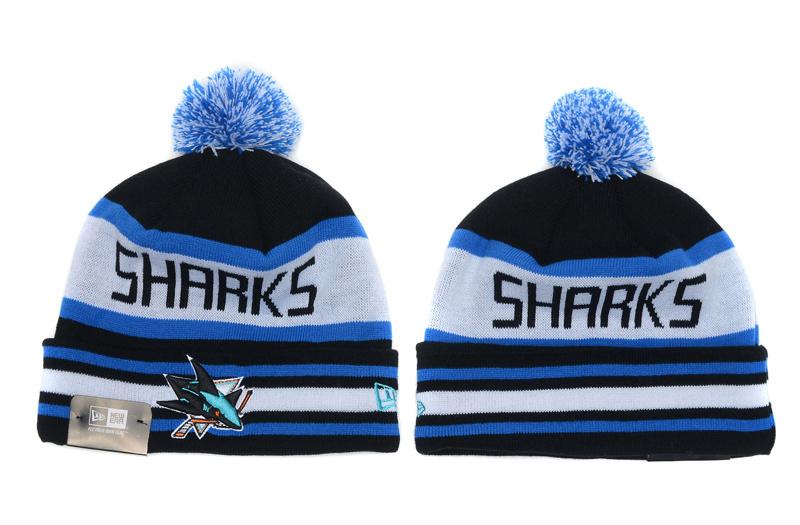 Sharks Team Logo Black White Cuffed Knit Hat With Pom YD