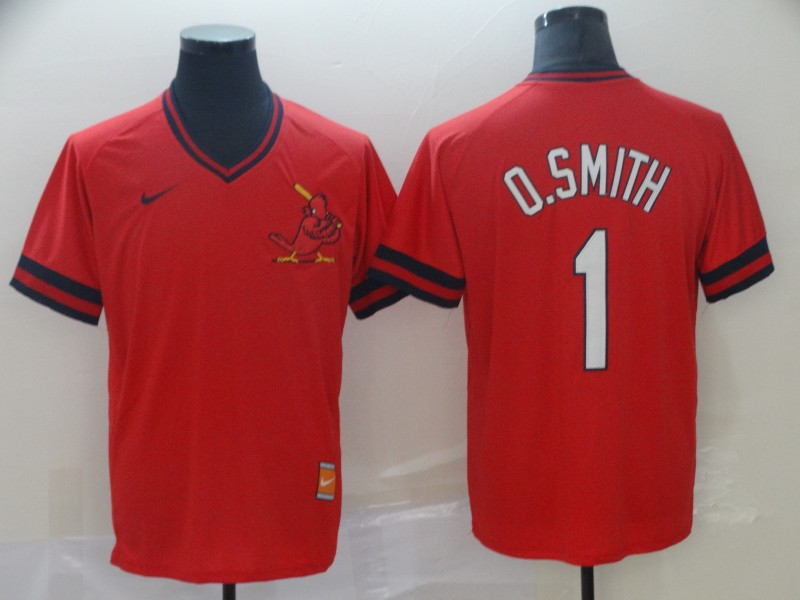 Cardinals 1 O.Smith Red Throwback Jersey