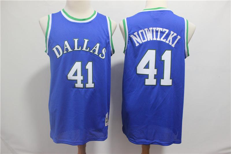 Mavericks 41 Dirk Nowitzki Blue 1998-99 Hardwood Classics Jersey