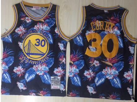 Warriors 30 Stephen Curry Black 1996-97 Hardwood Classics Floral Fashion Swingman Jersey
