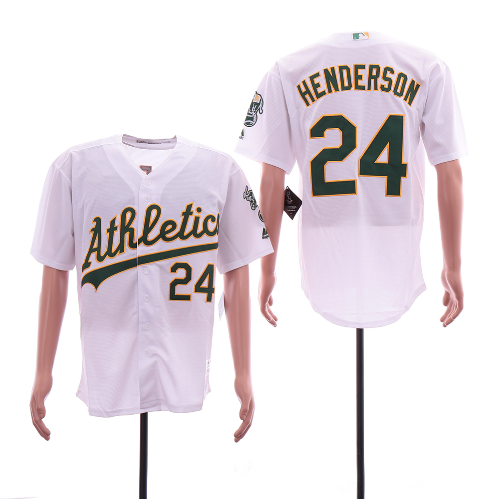 Athletics 24 Rickey Henderson White Cool Base Jersey