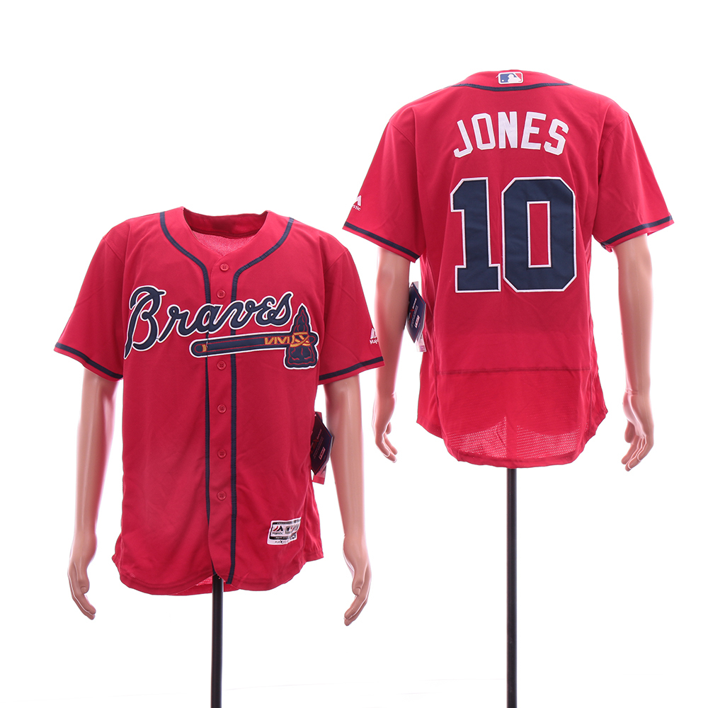 Braves 10 Chipper Jones Red Flexbase Jersey