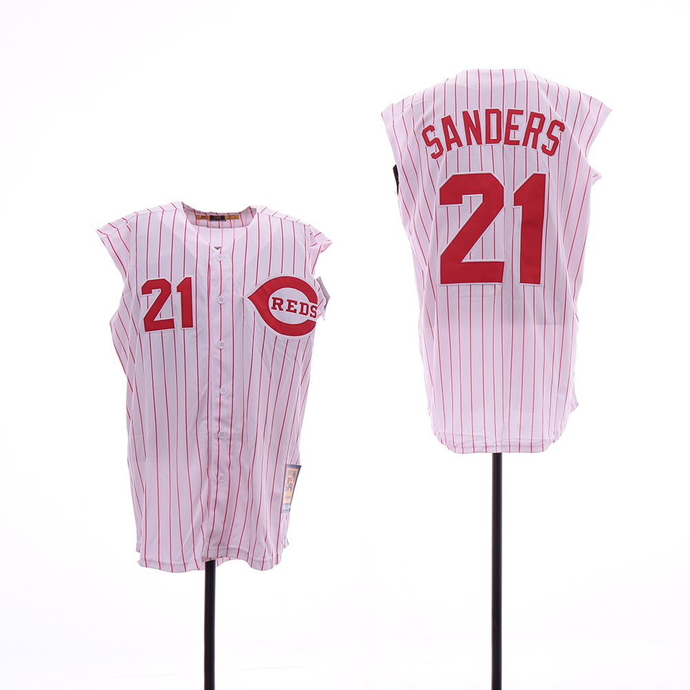 Reds 21 Deion Sanders White Cooperstown Collection Cool Base Sleeveless Jersey