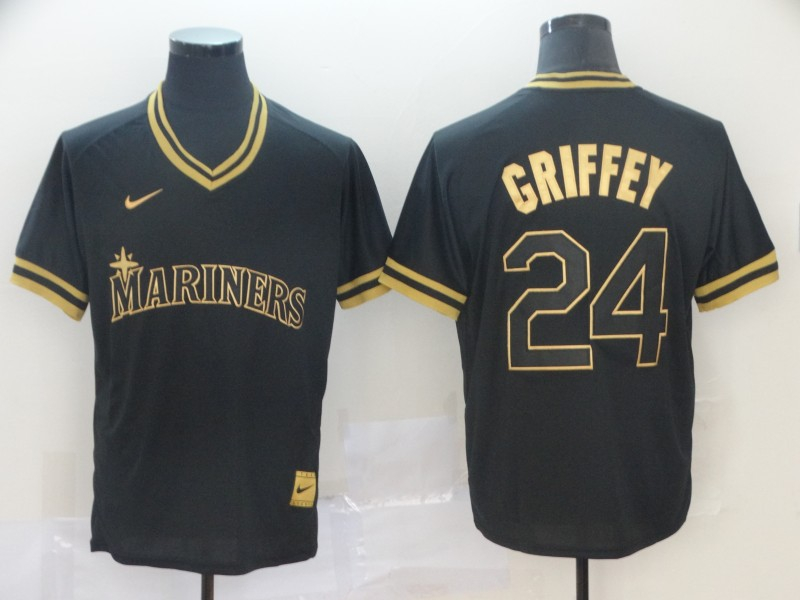 Mariners 24 Ken Griffey Jr. Black Gold Nike Cooperstown Collection Legend V Neck Jersey