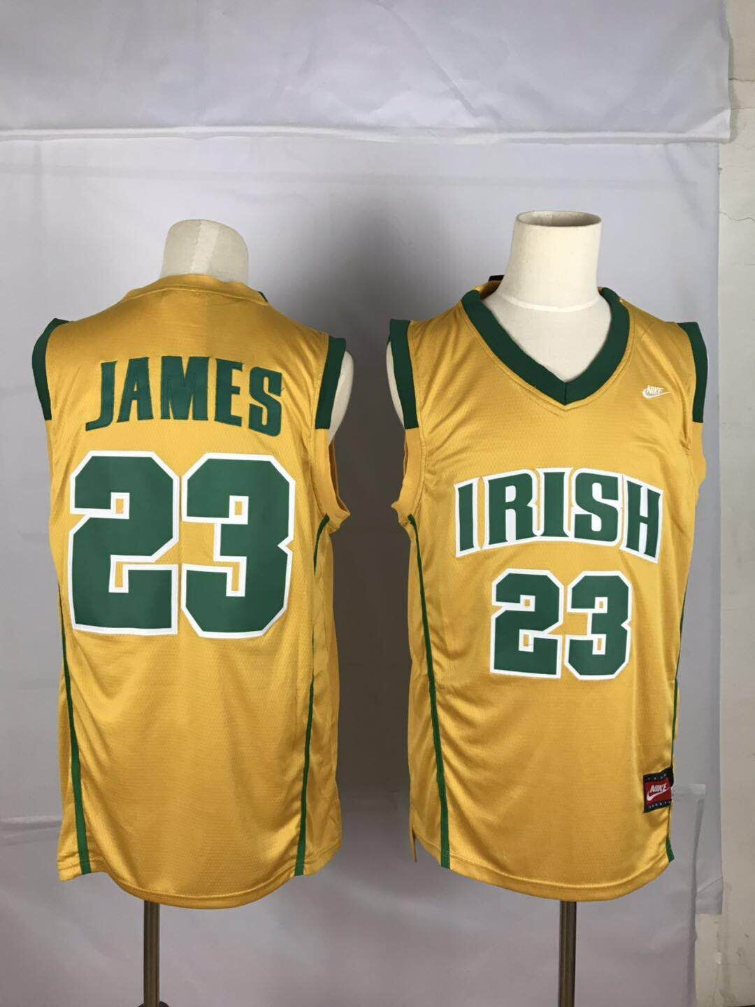 Irish High School 23 LeBron James Yellow Swingman Jersey