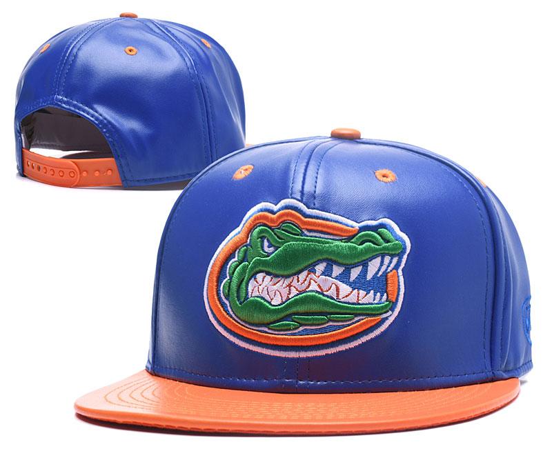 Florida Gators Team Logo Blue Orange Leather Adjustable Hat GS