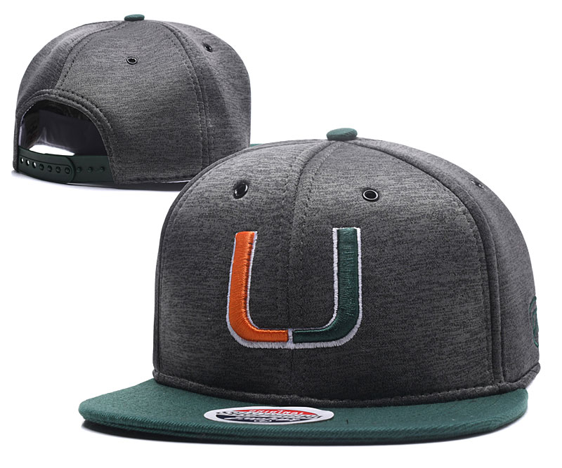 Miami Hurricanes Team Logo Gray Green Adjustable Hat GS
