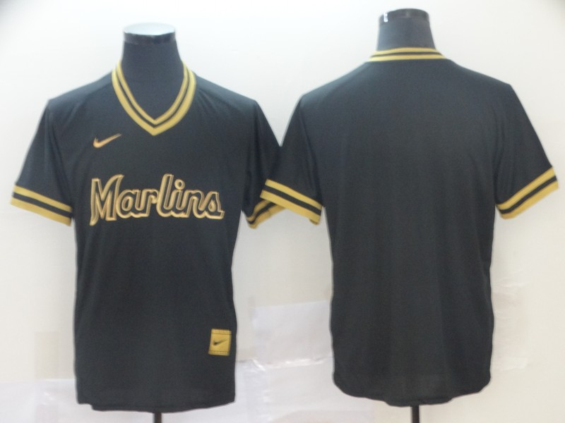 Marlins Blank Black Gold Nike Cooperstown Collection Legend V-Neck Jersey
