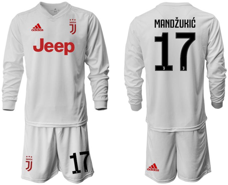 2019-20 Juventus 17 MANDZUKIC Long Sleeve Away Soccer Jersey