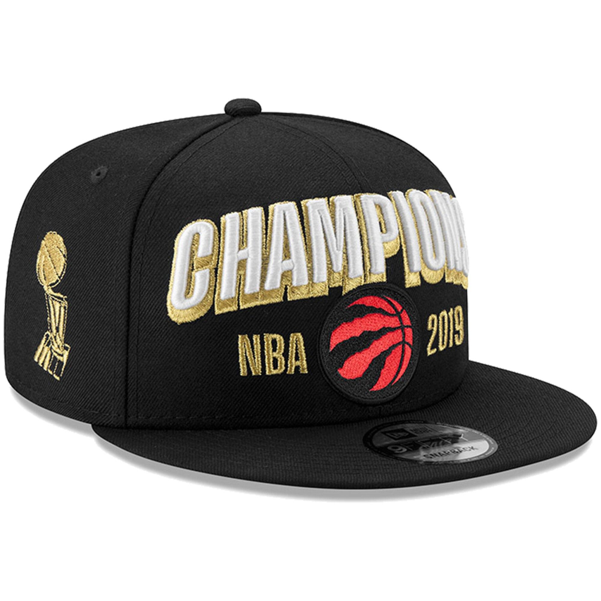 Raptors Team Logo Black 2019 NBA Finals Champions Adjustable Hat SG