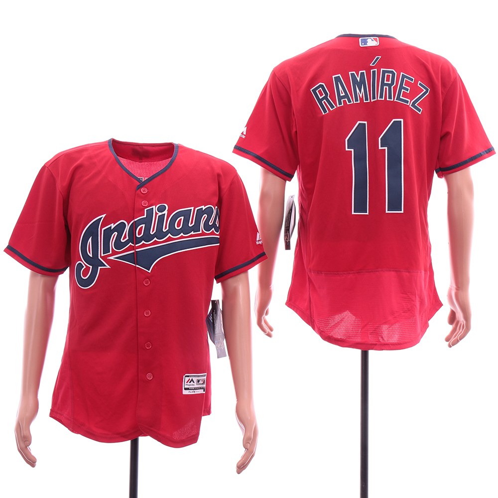 Indians 11 Jose Ramirez Red Flexbase Jersey