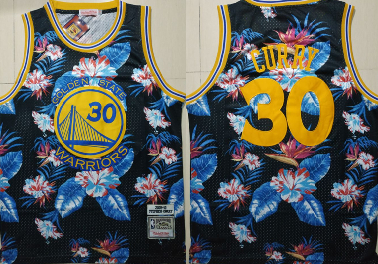Warriors 30 Stephen Curry Black 2009-10 Hardwood Classics Floral Fashion Swingman Jersey
