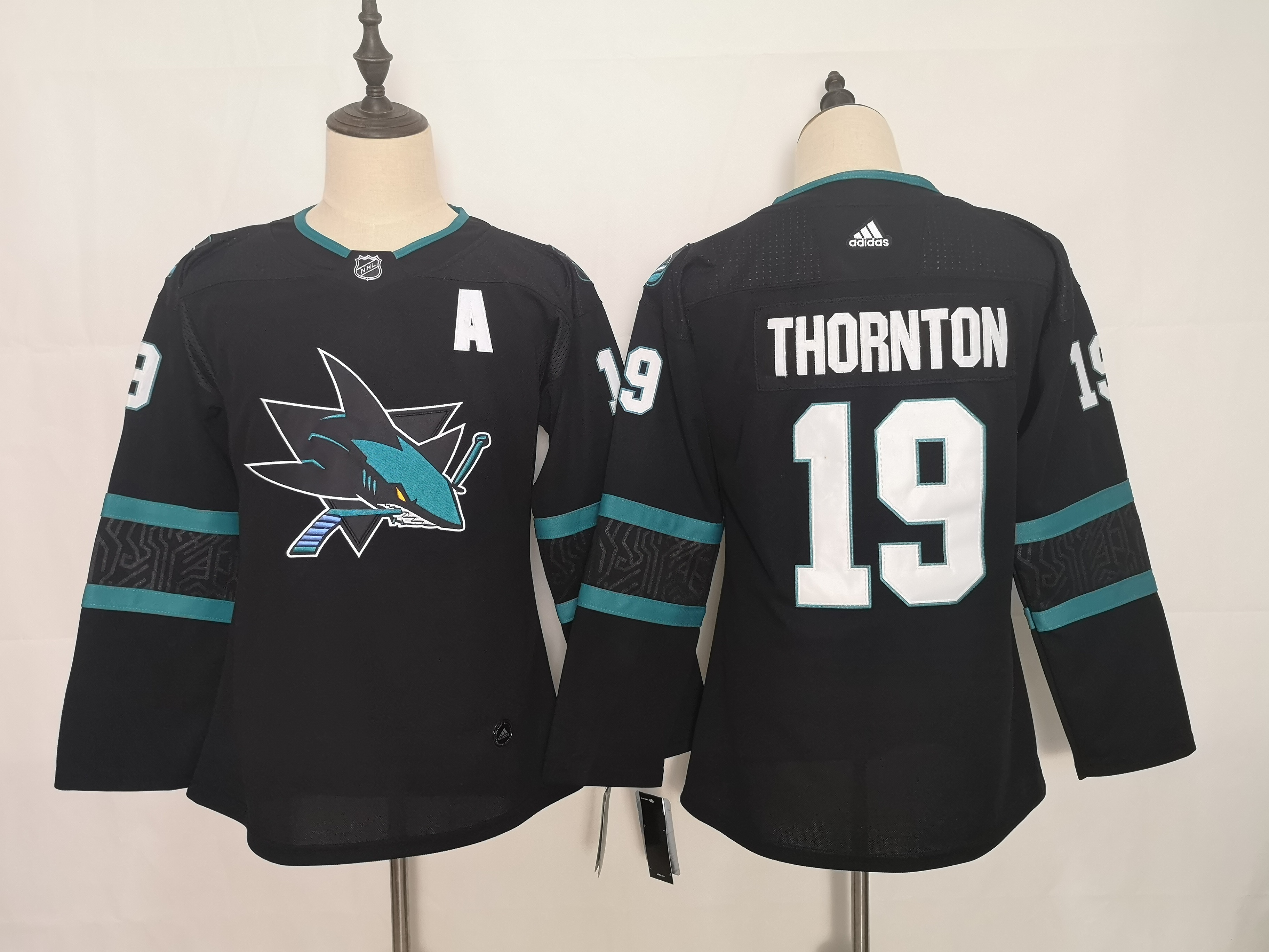 Sharks 19 Joe Thornton Black Youth Adidas Jersey