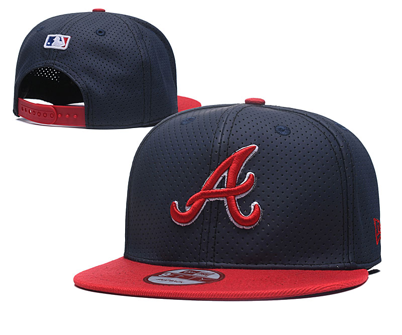 Braves Team Logo Navy Red Adjustable Hat TX