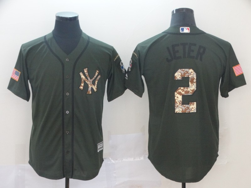 Dodgers 2 Derek Jeter Olive Camo Salute To Service Cool Base Jersey