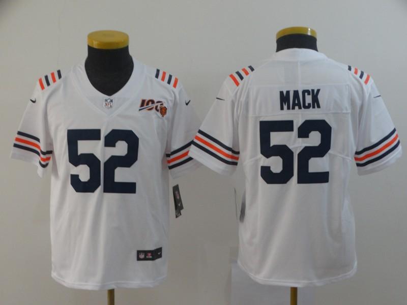 Nike Bears 52 Khalil Mack White Youth 2019 100th Season Alternate Classic Vapor Untouchable Limited Jersey