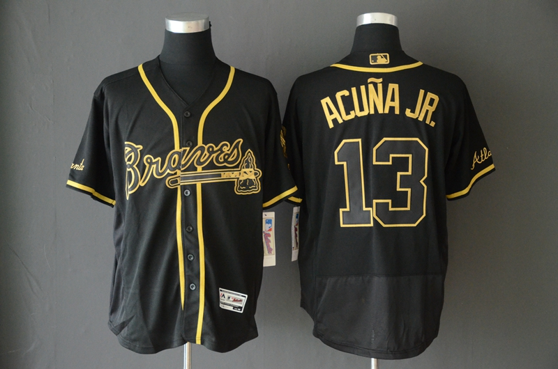 Braves 13 Ronald Acuna Jr Black Gold Flexbase Jersey