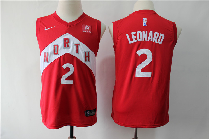 Raptors 2 Kawhi Leonard Red Youth Earned Edition Nike Swingman Jersey