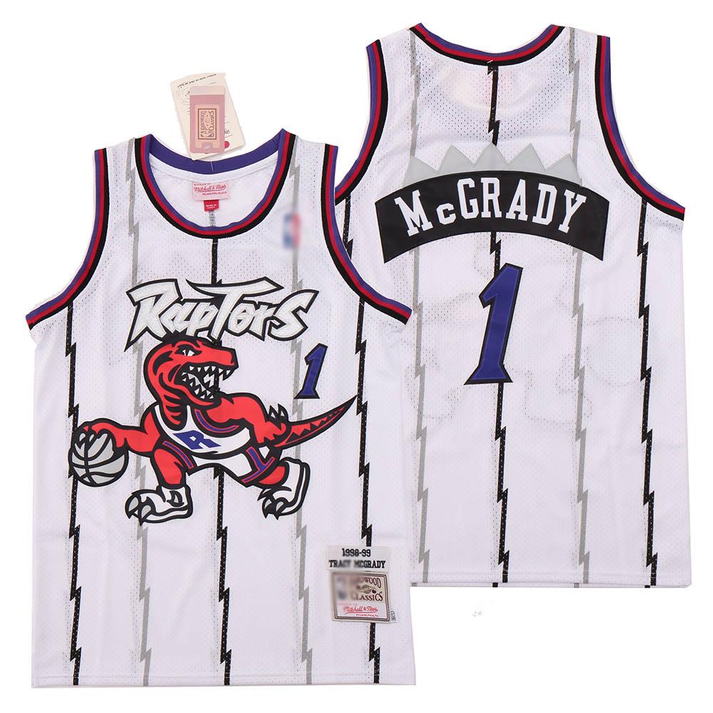 Raptors 1 Tracy McGrady White 1998-99 Hardwood Classics Jersey
