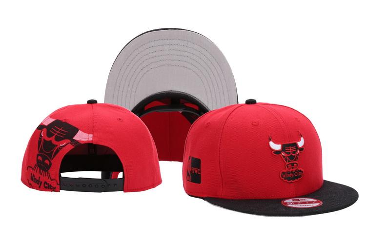 Bulls Team Logo Red Black Adjustable Hat LH