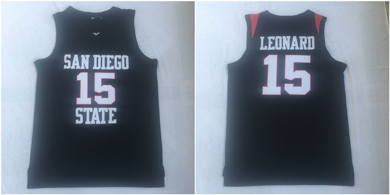 Nike San Diego State 15 Kawhi Leonard Black College Basketball Jersey