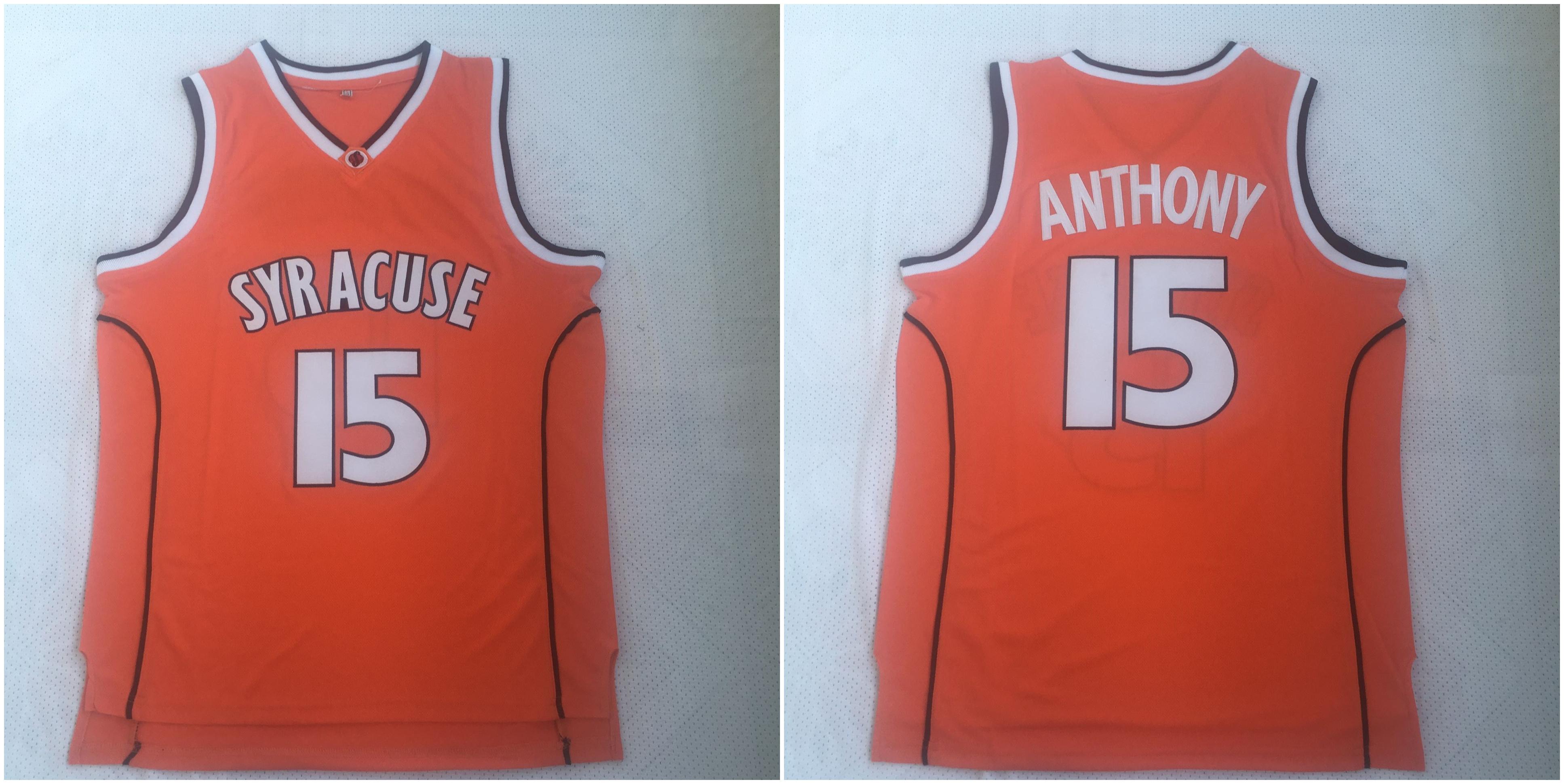Syracuse University 15 Carmelo Anthony Orange Basketball College Jersey