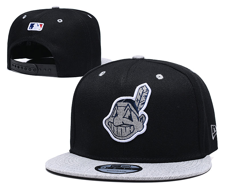 Indians Team Logo Black Adjustable Hat TX