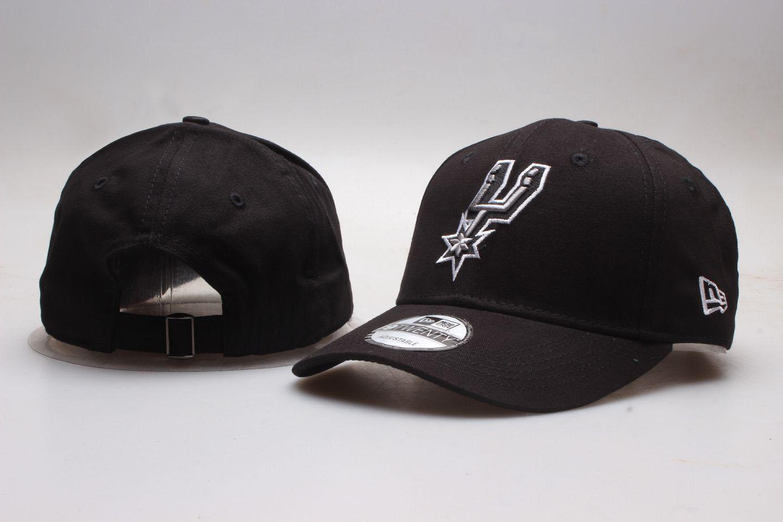 Spurs Team Logo Black Peaked Adjustable Hat YP