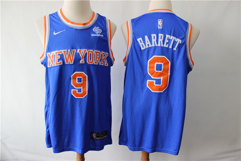Knicks 9 R.J. Barrett Royal Nike Swingman Jersey
