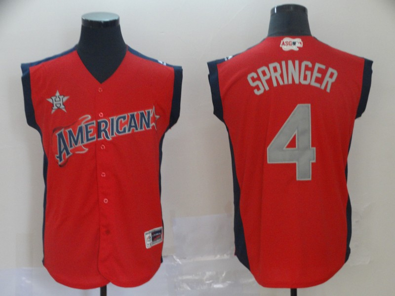 American League 4 George Springer Red 2019 MLB All Star Game Workout Player Jersey