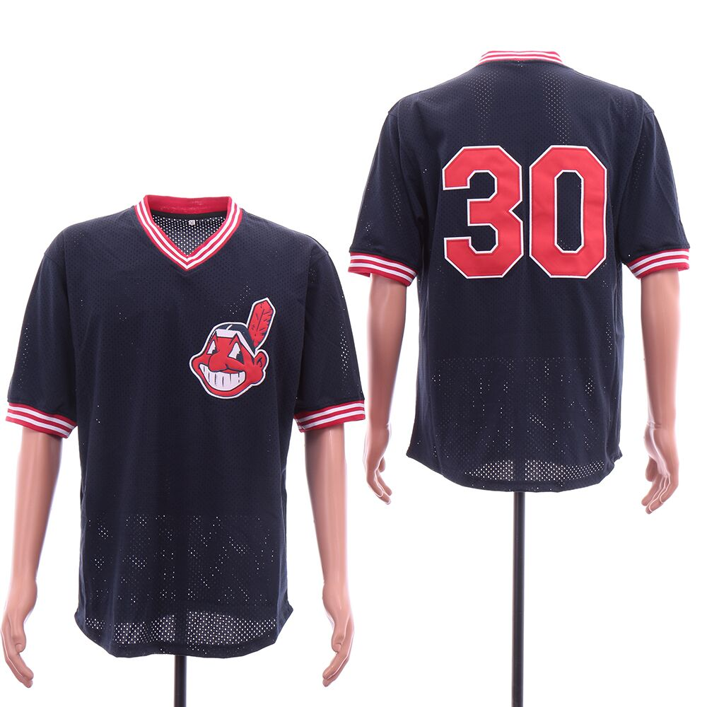 Indians 30 Joe Carter Navy Mesh Jersey