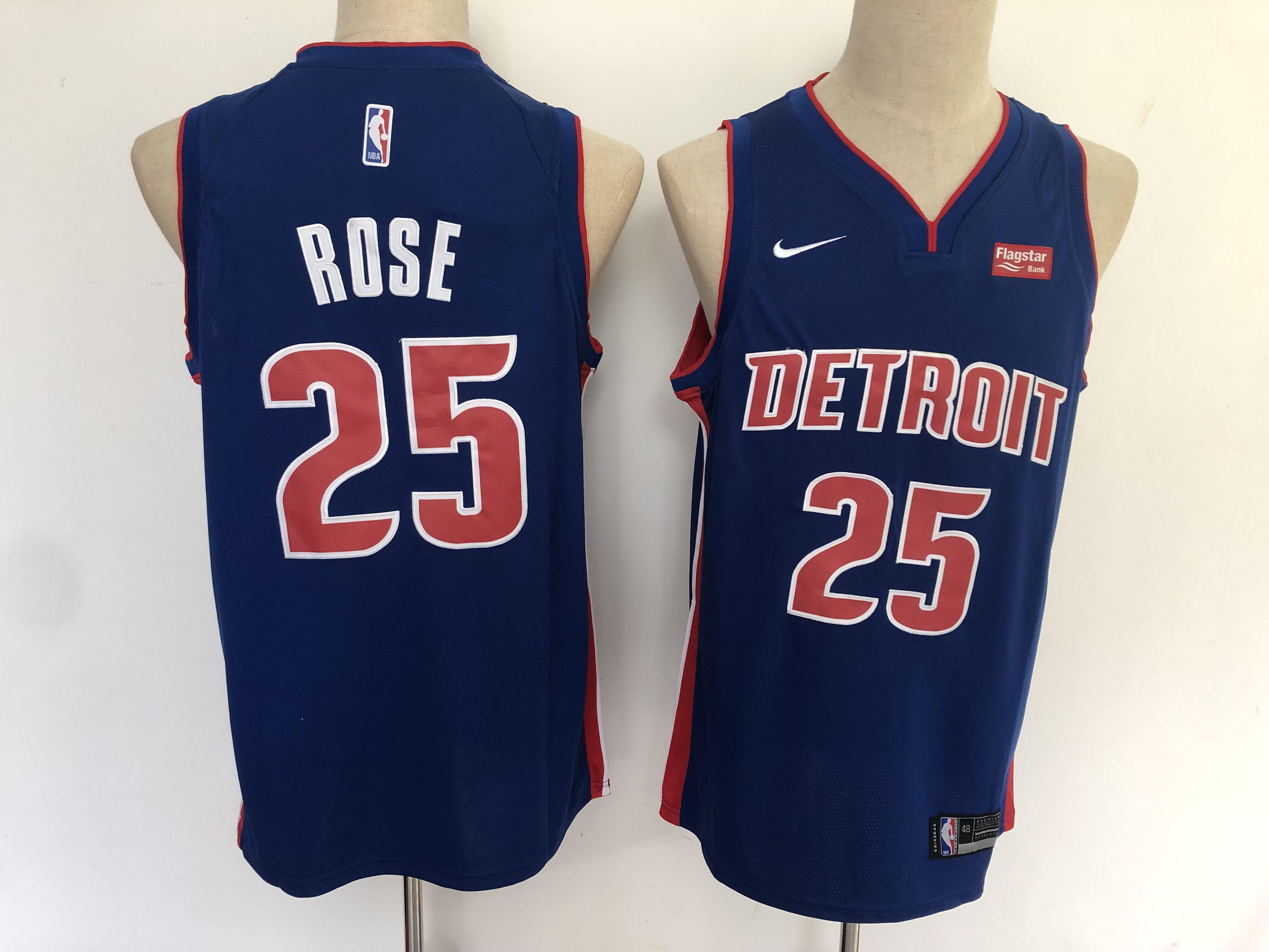 Pistons 25 Derrick Rose Navy Nike Swingman Jersey