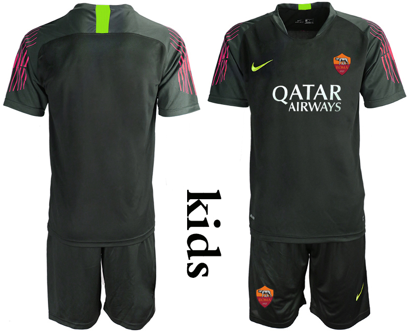2019-20 Roma Black Goalkeeper Youth Soccer Jersey