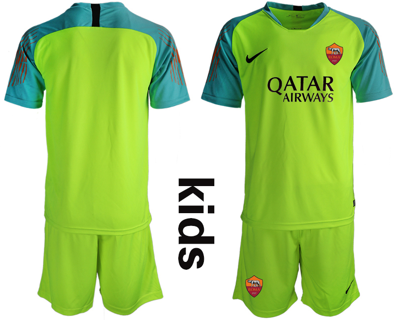 2019-20 Roma Fluorescent Green Goalkeeper Youth Soccer Jersey