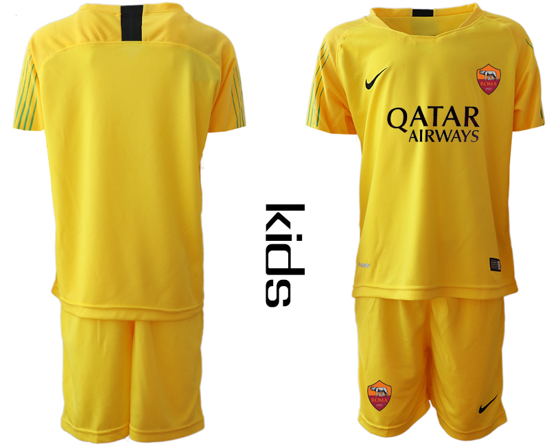 2019-20 Roma Yellow Goalkeeper Youth Soccer Jersey