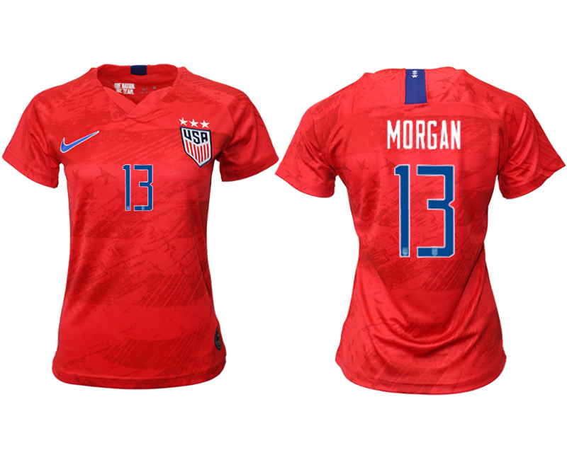 2019-20 USA 13 MORGAN Away Women Soccer Jersey