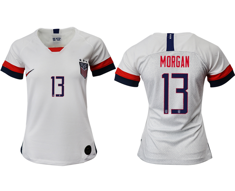 2019-20 USA 13 MORGAN Home Women Soccer Jersey